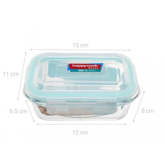 Bộ 3 Hộp Thủy Tinh Hình Chữ Nhật 370ml Kèm Túi Giữ Nhiệt Happy Cook Glass HCG-03R