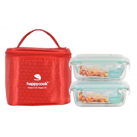 Bộ 2 Hộp Thủy Tinh Hình Chữ Nhật 370ml Kèm Túi Giữ Nhiệt Happy Cook Glass HCG-02R