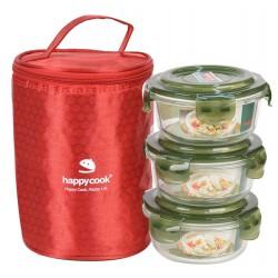 Bộ 3 Hộp Thủy Tinh Tròn 400ml Kèm Túi Giữ Nhiệt Happy Cook Glass HCG-03CX