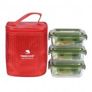 Bộ 3 Hộp Thủy Tinh Hình Chữ Nhật 370ml Kèm Túi Giữ Nhiệt Happy Cook Glass HCG-03RX