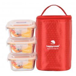 Bộ 3 Hộp Thủy Tinh Tròn 320ml Kèm Túi Giữ Nhiệt Happy Cook Glass HCG-03S1