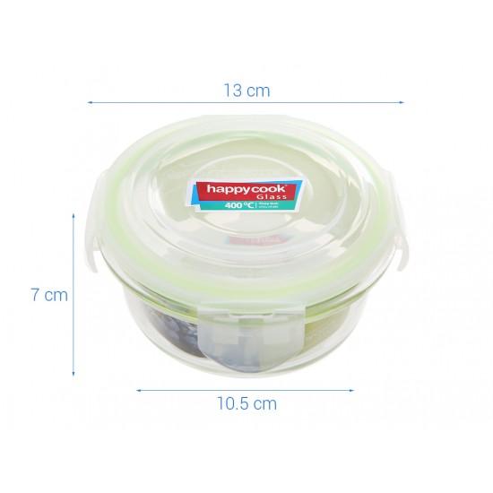 Bộ 3 Hộp Thủy Tinh Tròn 400ml Kèm Túi Giữ Nhiệt Happy Cook Glass HCG-03C