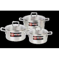 Bộ Nồi Inox 304 Cao Cấp 3 Đáy Nắp Kính Happy Cook Alvar HC06ALV