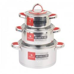 Bộ Nồi Inox 304 Cao Cấp 3 Đáy Bếp Từ Nắp Kính Happy Cook Aries HC06AR