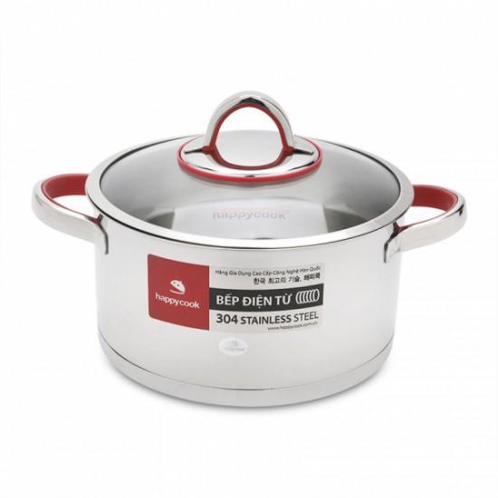 Nồi Inox 304 Cao Cấp 3 Đáy Bếp Từ Nắp Kính 16cm Happy Cook Aries HC-16AR