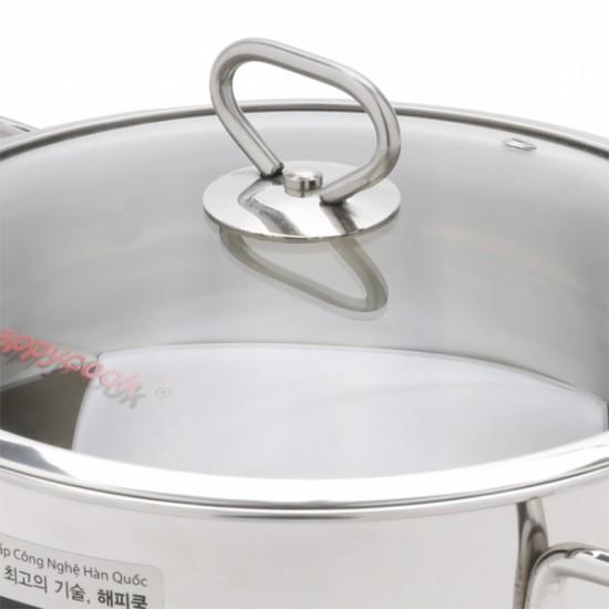 Bộ Nồi Inox 304 Cao Cấp 3 Đáy Nắp Kính Happy Cook Delux HC06DLG