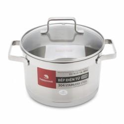 Nồi Inox 304 Bếp Từ Nắp Kính Cao Cấp 16cm Happy Cook Richard Plus N16-RSP